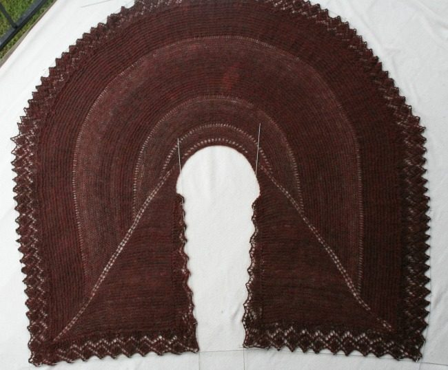 Blocking a Pie Are Square shawl