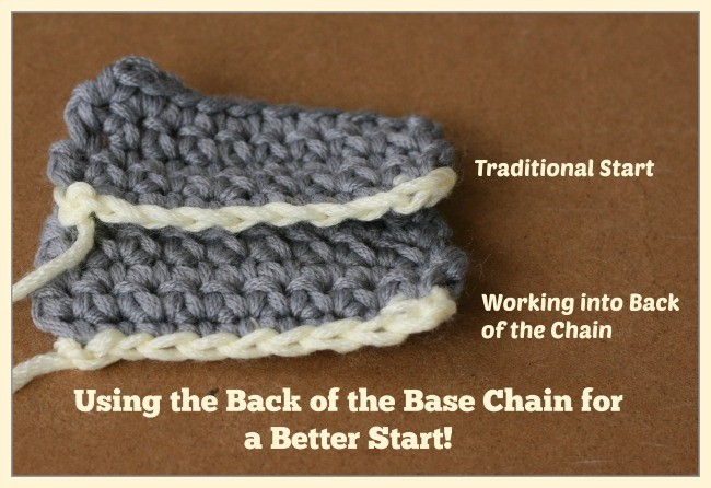 Crocheting into the back of the base chain