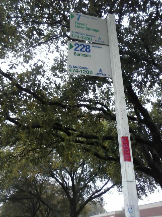 Austin city bus stop