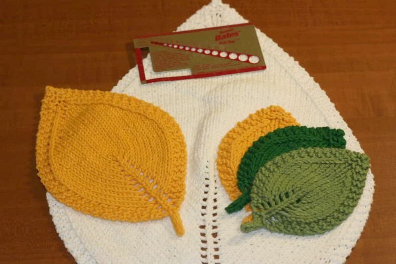 A Knit Leaf In Three Sizes