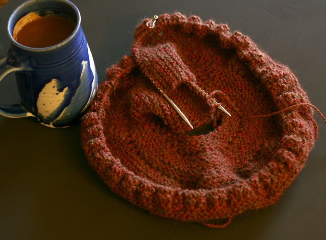 Knitting on a Pie Are Square Shawl