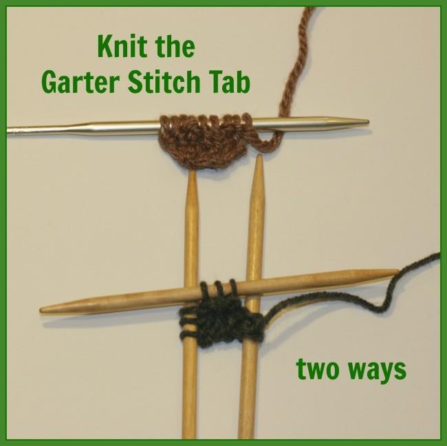 knit garter stitch tab 2 ways - a free tutorial