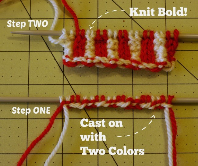 Cast On with Two Colors - a free tutorial