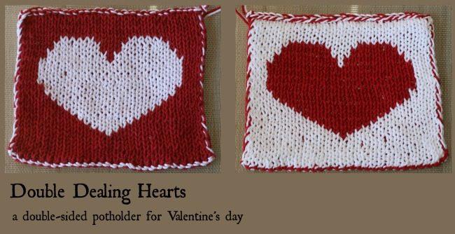 Double Knitting Heart Pattern : Double Dealing Hearts - a free pattern
