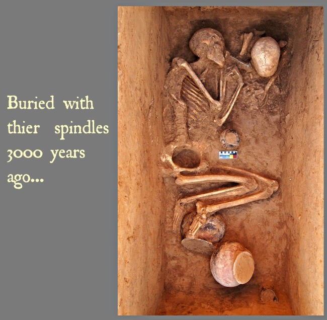 Women buried with handspinning spindles 3000 years ago