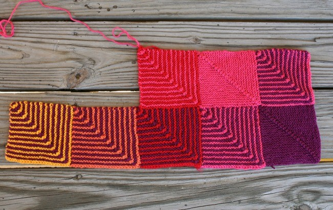 Hue Shift Afghan - the 8th block