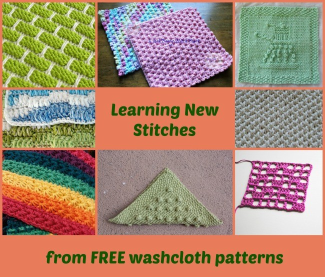 8 free dishcloth patterns for learninfg new stitches