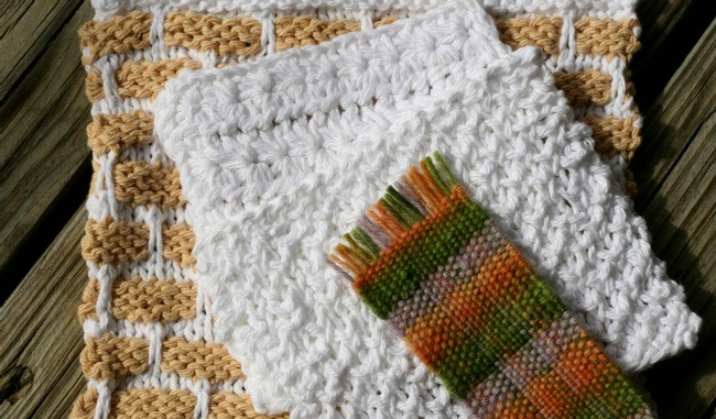 Mini projects for learning knitting, crochet, and weaving