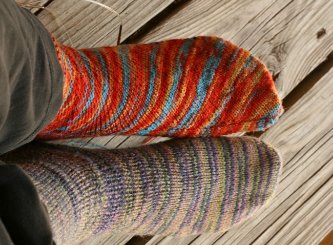 Wearing old socks and knitting new ones. Sock weather is here.