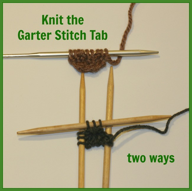 knit garter stitch tab 2 ways - a free tutorial